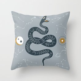 Mid Century, Magic ,Minimalist, Modern ,Trendy, Contemporary, Mythical ,Snake ,Star Constellation ,Sun, Moon ,Zodiac Symbol, Powder Blue Throw Pillow