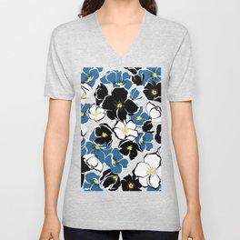 Blue Black White Garden Unisex V-Neck