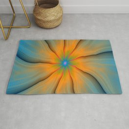 Cracked in Blue Orange and Green Rug