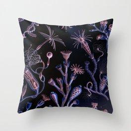 Ode to Haeckel's Deep Dark World Under the Sea Throw Pillow