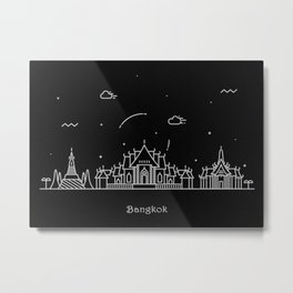 Bangkok Minimal Skyline Drawing Metal Print