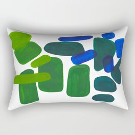 Mid Century Vintage Abstract Minimalist Colorful Pop Art Phthalo Blue Lime Green Pebble Shapes Rectangular Pillow