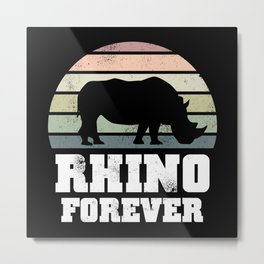 Rhino Forever Wildlife Conservation Gift Metal Print
