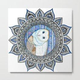 Winter Barn Owl Mandala Metal Print