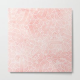 Rose quartz and white swirls doodles Metal Print