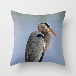 Heron in the Slough I Throw Pillow