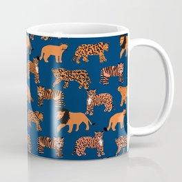 Big Cats pattern - leopard, cougar, tiger, lion, cats safari art, navy tiger, orange tigers, tiger art, animals art Coffee Mug