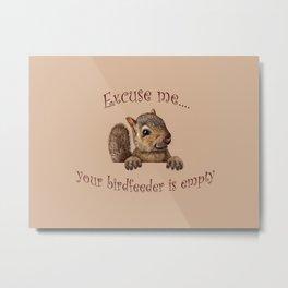 Excuse me...your birdfeeder is empty Metal Print
