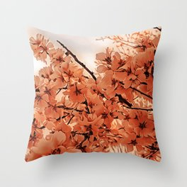 Ornamental Cherry Branches Orange Stylized Throw Pillow