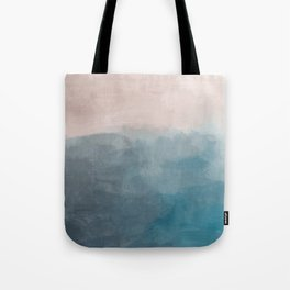 Turquoise Aqua Teal Blue Coral Rose Pink Abstract Painting, Modern Wall Art, Ocean Sunset Sand Beach Tote Bag