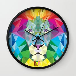 Geometric Rainbow Lion Wall Clock