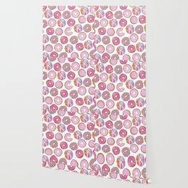 Cute Pink Sprinkle Confetti Watercolor Donuts Wallpaper