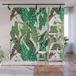 Polka Dot Begonia Leaves in White Wall Mural