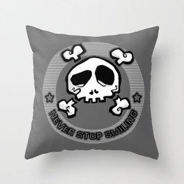Never Stop Smiling (dark) Throw Pillow
