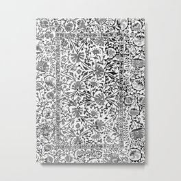 Floral Pattern Tapestry V// 18th Century Black and White Gray Tones Minimalist Flowery Design Metal Print