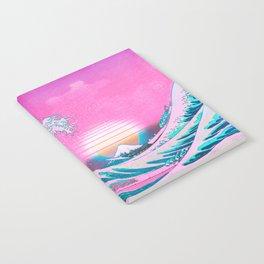 Vaporwave Aesthetic Great Wave Off Kanagawa Sunset Notebook