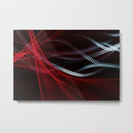 Colorful and abstract lines curved shapes on black background. Abstract light painting. Metal Print