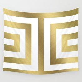 Gold Greek Stripes Wall Tapestry