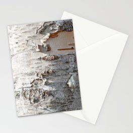Full frame of birch bark tree detailed texture in close-up Stationery Cards