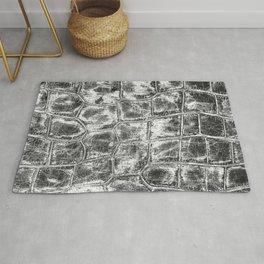 Alligator Skin // Black and White Worn Textured Pattern Animal Print Rug
