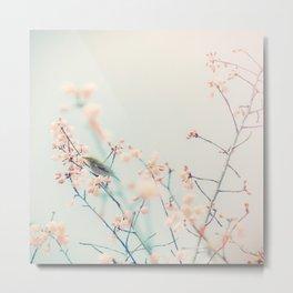 Pink Flower Green Bird Metal Print