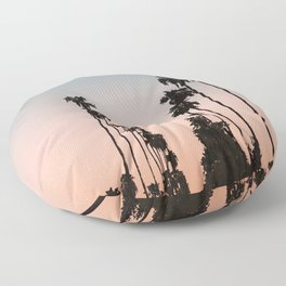 California Sunset // Palm Tree Silhouette Street View Orange and Blue Color Sky Beach Photography Floor Pillow