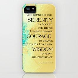 Serenity Prayer Blue Gold Flowers iPhone Case