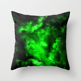 Envy - Abstract In Black And Neon Green Throw Pillow
