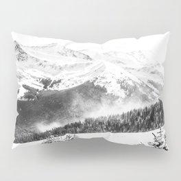 Fresh Snow Dust // Black and White Powder Day on the Mountain Pillow Sham