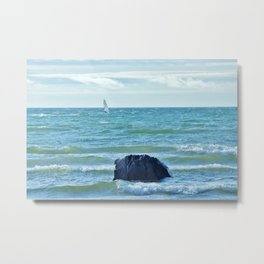 Windsurfer at blue sea Metal Print
