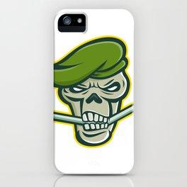 Green Beret Skull Ice Hockey Mascot iPhone Case