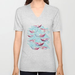 Japanese waves and paper boats Unisex V-Neck