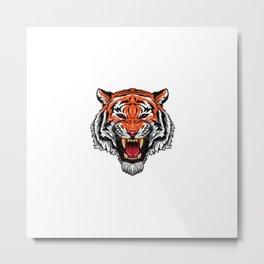 Angry Tiger Head Metal Print