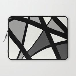 Geometric Line Abstract - Black Gray White Laptop Sleeve