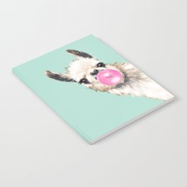 Bubble Gum Sneaky Llama in Green Notebook