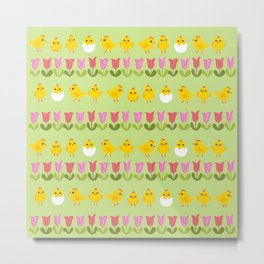 Easter - chick and tulips Metal Print