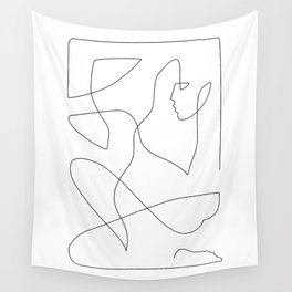 Abstract Figure One Line Art Wall Tapestry