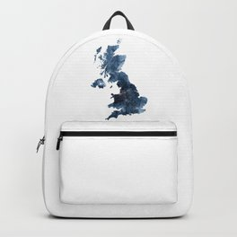Great Britain Map Watercolor Navy Blue by Zouzounio Art Backpack