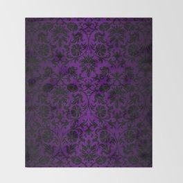 Purple and Black Damask Pattern Design Throw Blanket