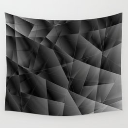 Exclusive pattern of chaotic black and white glass fragments on the edges of silver plates. Wall Tapestry