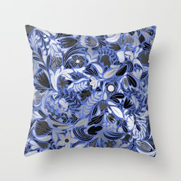 Silver Blue Floral Leaves Illustration Pattern Throw Pillow