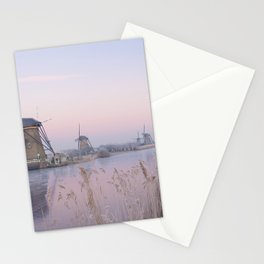 Pastel sunrise over windmills in winter in the Netherlands Stationery Cards