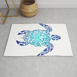 Tribal Sea Turtle Ocean Blue Hawaii Polynesian Maori Rug