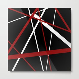 Red and White Stripes on A Black Background Metal Print
