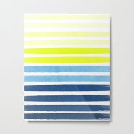 Stripes - Navy and Yellow -- Bright Summer Stripe Design for Cell Phone Case Metal Print