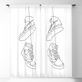 Sneakers simple minimal one line art, hanging shoes branded shoes  Blackout Curtain
