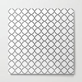 Black Quatrefoil - Baby Stimulation Pattern Metal Print