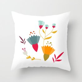Colorful little spring flowers Throw Pillow