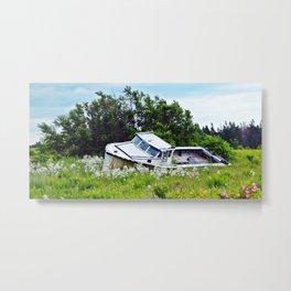 Boat in a Field Metal Print