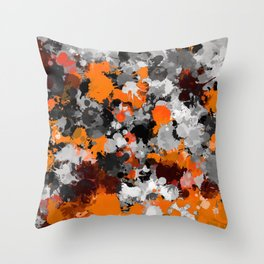 Orange and Grey Paint Splatter Throw Pillow